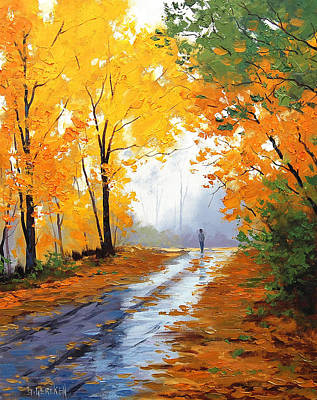 Gercken Painting - Wet Autumn Morning by Graham Gercken
