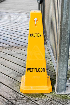 Wet Floor Warning Art Print by Tom Gowanlock