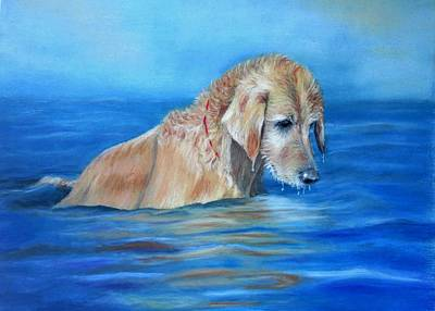 Art Print featuring the painting Wet Godden Retriever by Ceci Watson