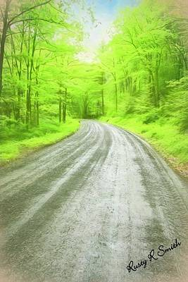 Digital Art - Wet Gravel Road,lush Green Forest. by Rusty R Smith