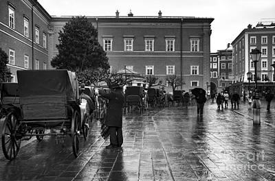 Wet In Salzburg Mono Art Print by John Rizzuto