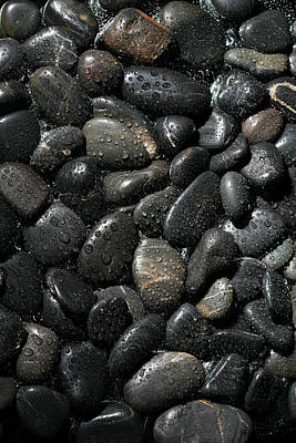 Black Background Photograph - Wet River Rocks  by Michael Ledray