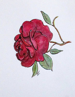 Painting - Wet Rose by Clyde J Kell