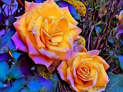 Photograph - Wet Roses by Nancy Pauling