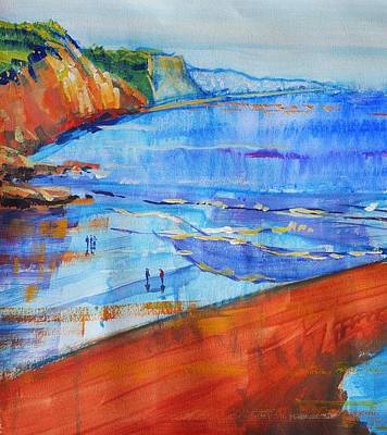 Drawing - Wet Sand At Sidmouth Devon Seascape Painting by Mike Jory