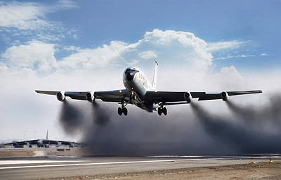 Wet Takeoff Kc-135 Print by Peter Chilelli