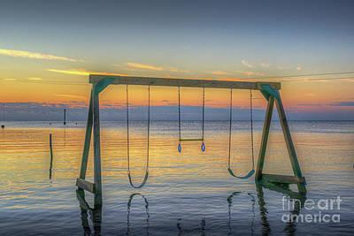 Photograph - Wet Water Swing Set by David Zanzinger