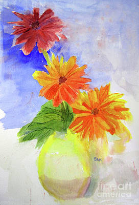 Painting - Wet Zinnias by Sandy McIntire