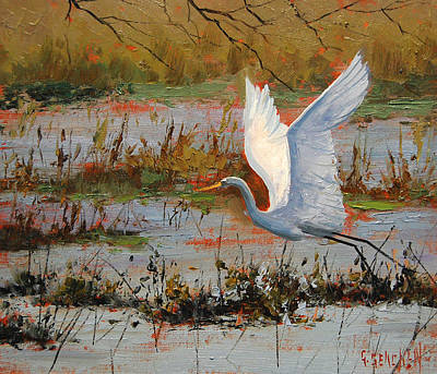 Gercken Painting - Wetland Heron by Graham Gercken