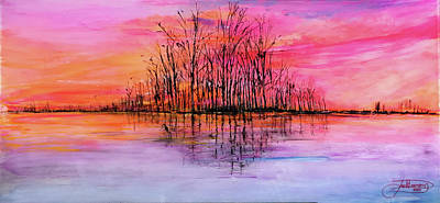 Painting - Wetland Sunset by Jack Diamond
