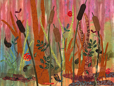 Fabric Collage Mixed Media - Wetlands Daybreak I by Julia Berkley