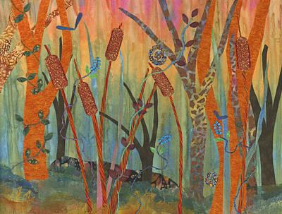 Textile Art Mixed Media - Wetlands Daybreak II by Julia Berkley