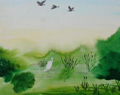 Wall Art - Painting - Wetlands by Helen Krummenacker
