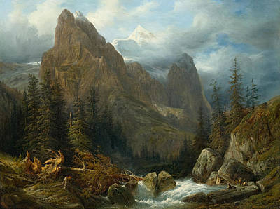 Painting - Wetterhorn by Francois Diday