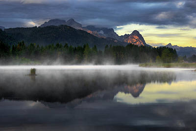 Wetterstein Mountain Reflection During Autumn Day With Morning Fog Over Geroldsee Lake, Bavarian Alps, Bavaria, Germany. Art Print