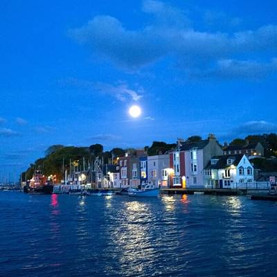 Photograph - Weymouth Harbour, Full Moon by Anne Kotan
