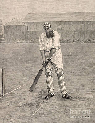 Batting Drawing - Wg Grace by English School