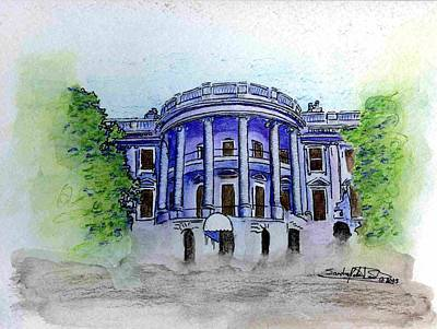 Whitehouse Drawing - W.h. by Saundra Lee York