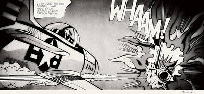 Photograph - Whaam - Black And White by Doc Braham - In Tribute to Roy Lichtenstein