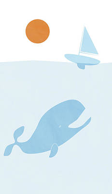 Whale Drawing - Whale And Boat by Frank Tschakert