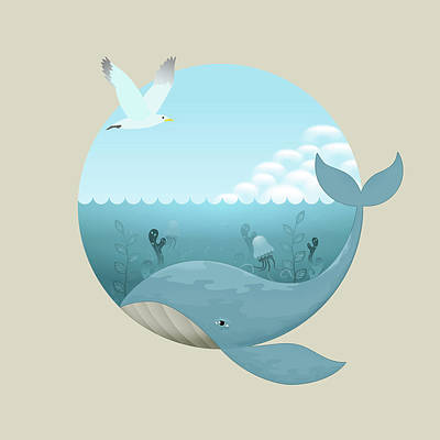 Digital Art - Whale And Seagull by David Perez