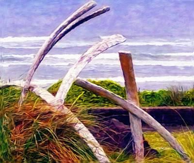 West Coast Digital Art - Whale Bone Sculpture At A West Coast Park by Katrina Britt