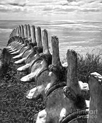 Photograph - Whale Bones In Black And White by Gregory Dyer