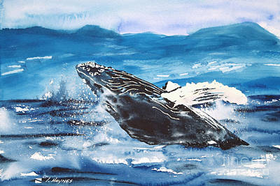 Haynes Painting - Whale Breaching by Tanya L Haynes - Printscapes