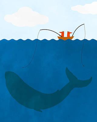 Whale Fishing Nursery Art Art Print by Brett Pfister