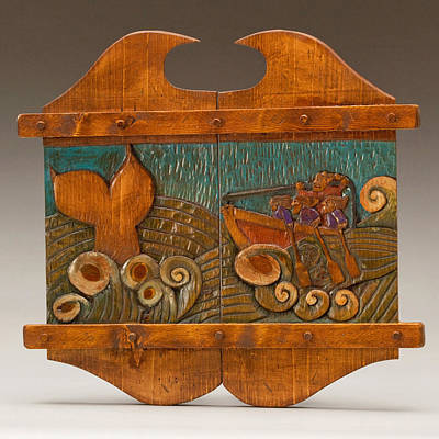 Folk Art Woodcarving Sculpture - Whale Hunting by James Neill