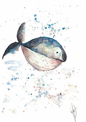 Drawing - Whale by Julia Zoellner
