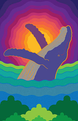 Ocean Sunset Drawing - Whale On Sunset Costa Rica by Jose Baquero