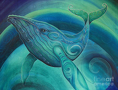 Aotearoa Painting - Whale By Reina Cottier by Reina Cottier