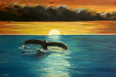 Whale Tail At Sunset  Art Print