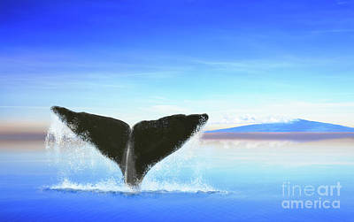 Photograph - Whale Tail On Ocean With An Island by Jan Brons