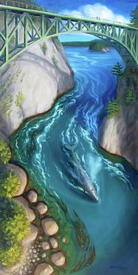 Wall Art - Painting - Whale Under Bridge by Ruth Hulbert
