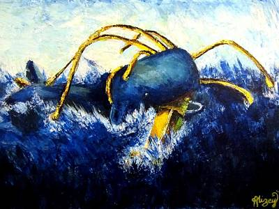 Turbulent Skies Painting - Whale Vs Colossal Squid by Alizey Khan