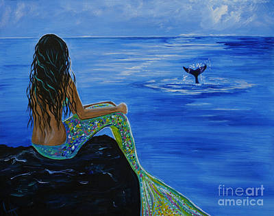 Fantasy Art Painting - Whale Watcher by Leslie Allen