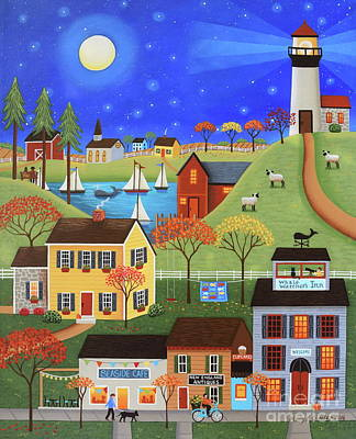 Folk Art Painting - Whale Watcher's Cove by Mary Charles