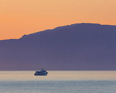 Whale Watching Boat Under The Midngight Art Print by Panoramic Images