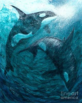 Whales  Ascending  Descending Art Print
