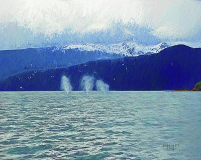 Digital Art - Whales Blowing by Rebecca Korpita
