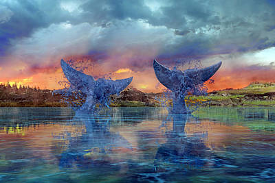 Two Fish Digital Art - Whales II by Betsy Knapp