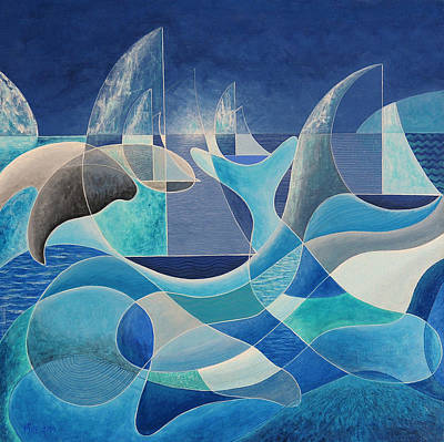 Whales In The Midnight Sun Art Print