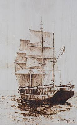 Pyrography Pyrography - Whaleship by Dominic Abela