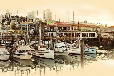 Photograph - Wharf Boats Near End Of Day by Bonnie Follett