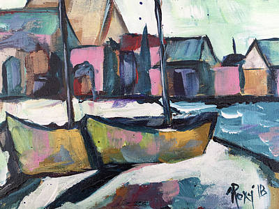 Blue Painting - Wharf Boats by Roxy Rich