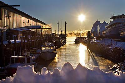 Photograph - Wharfs In Sea Smoke by Ed Fletcher