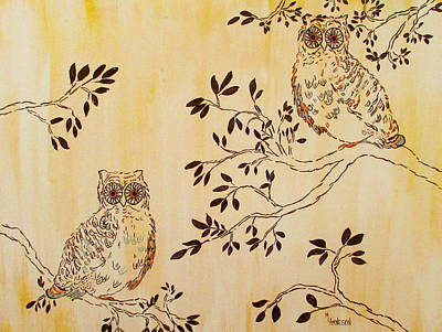 Wall Art - Painting - What A Hoot by Mary Arneson