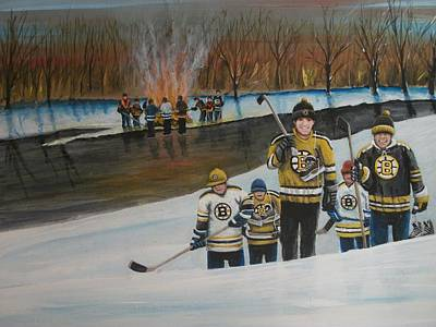 Pond Hockey Painting - What A Riot by Ron  Genest